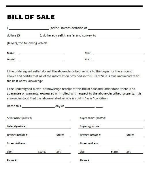 bill of sale for used car