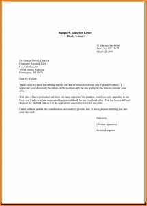 bill of sale format declining a position letter rejection letter declining a job offer sample