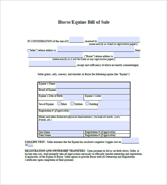 bill of sale horse
