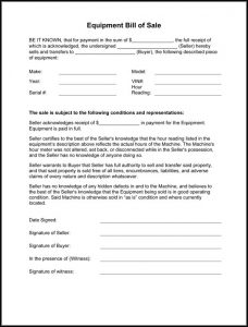 bill of sale horse equipment bill of sale form