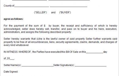 bill of sale sample sample bill of sale