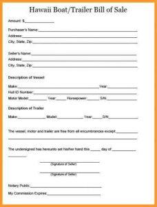 bill of sale templates trailer bill of sale hawaii boat trailer bill of sale x