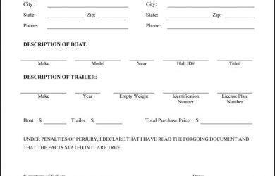 bill of sale trailer boat trailer bill of sale