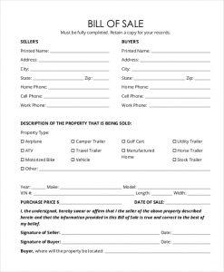 bill of sale trailer horse trailer bill of sale