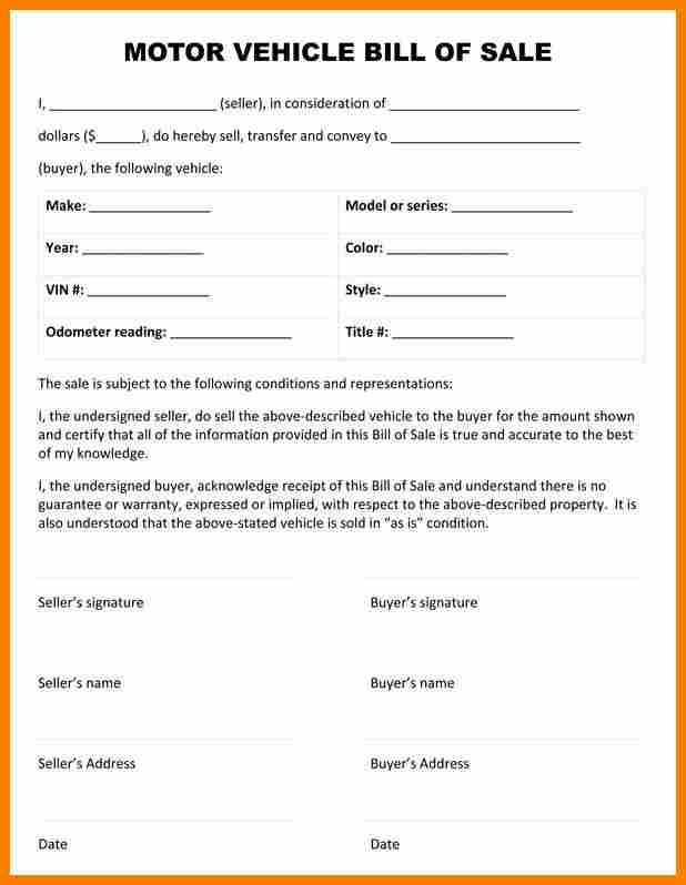 bill of sale word template