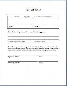 bill of sale word template bill of sale