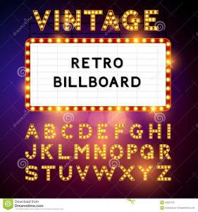 billboard design template retro billboard vector waiting your message also includes glamorous alphabet illustration