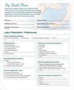 birth plan pdf baby birth plan template