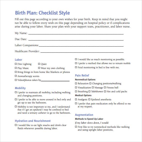 birth plan pdf