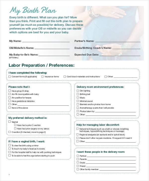 birthing plan template