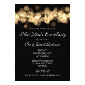 black and white party invitations new years eve party gold bokeh lights card rdaaecbb zkc