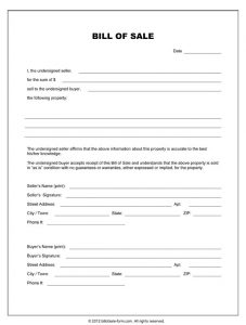 blank bill of sale blank bill of sale form