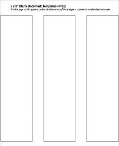 blank bookmark template free blank bookmark