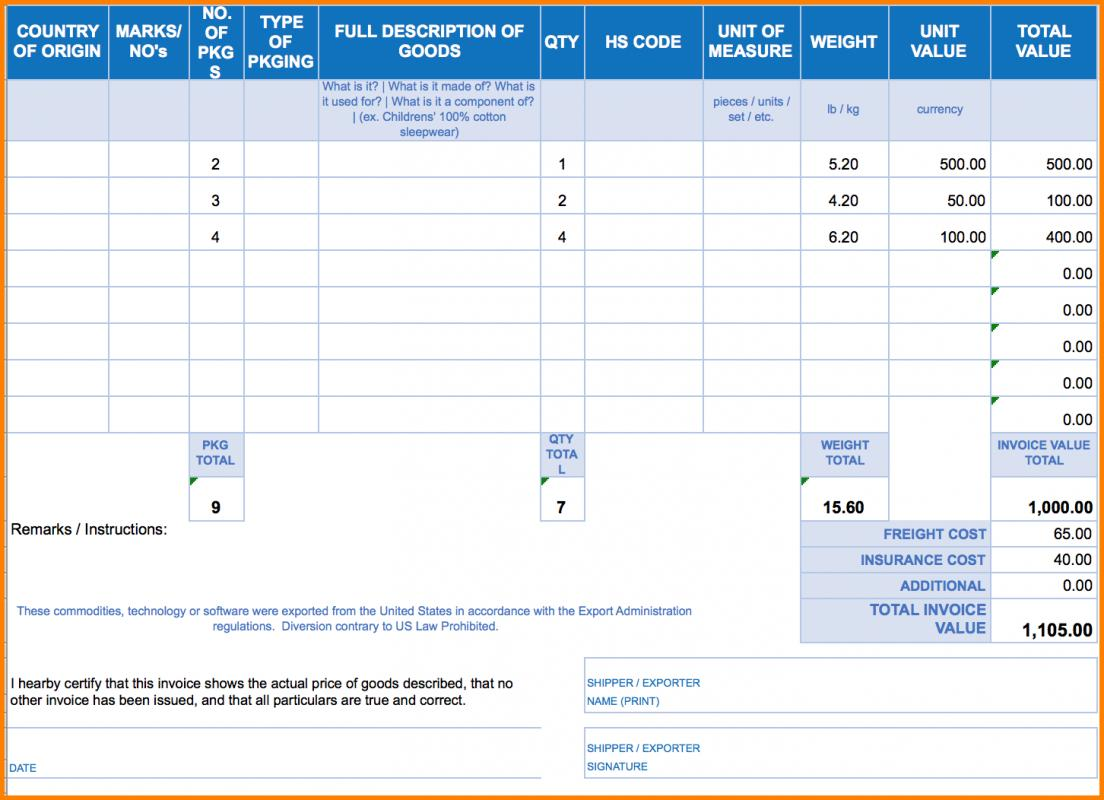 blank commercial invoice