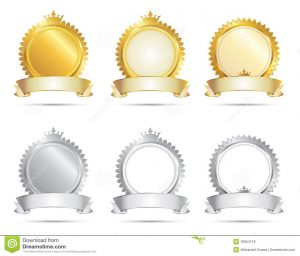 blank label template approval seal gold silver set