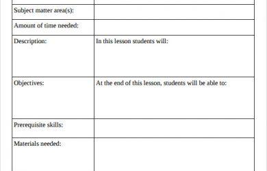 blank lesson plan template printable lesson plan template