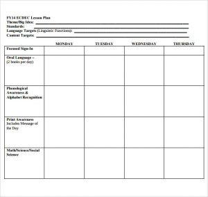 blank lesson plan template printable lesson plan template for preschool