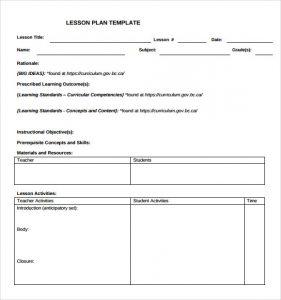 blank lesson plan template teacher blank lesson plan template