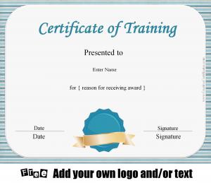 blank logo templates certificate of training