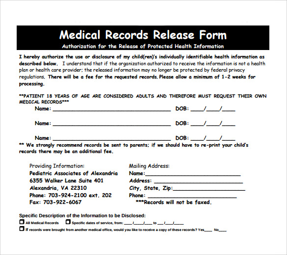blank medical records release form