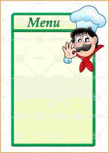 blank menu template blank menu template free printable blank restaurant menu templates stock image menu template with cartoon chef