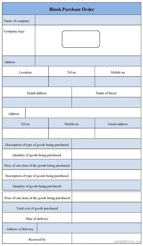 blank order form