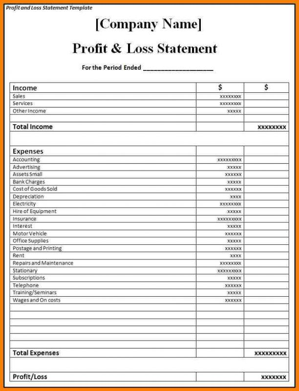 blank profit and loss statement pdf