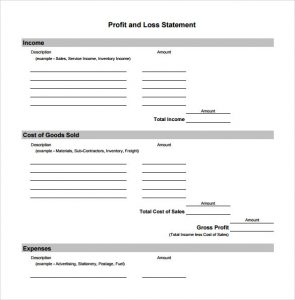 blank profit and loss statement pdf sheets business very simple profit and loss format sample with blank fill in template
