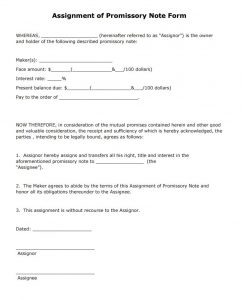 blank promissory note assignment of promissory note form