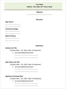 blank resume form high school blank student resume template