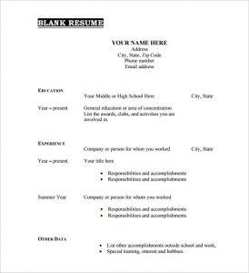 blank resume form printable blank resume template free pdf format download