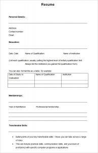 blank resume form simple sample academic blank resume template
