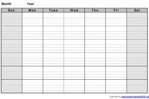 blank schedule template monthly blank calendar notes landscape sept