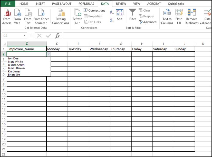 blank time sheet