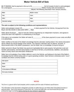 blank vehicle bill of sale alabama vehicle bill of sale