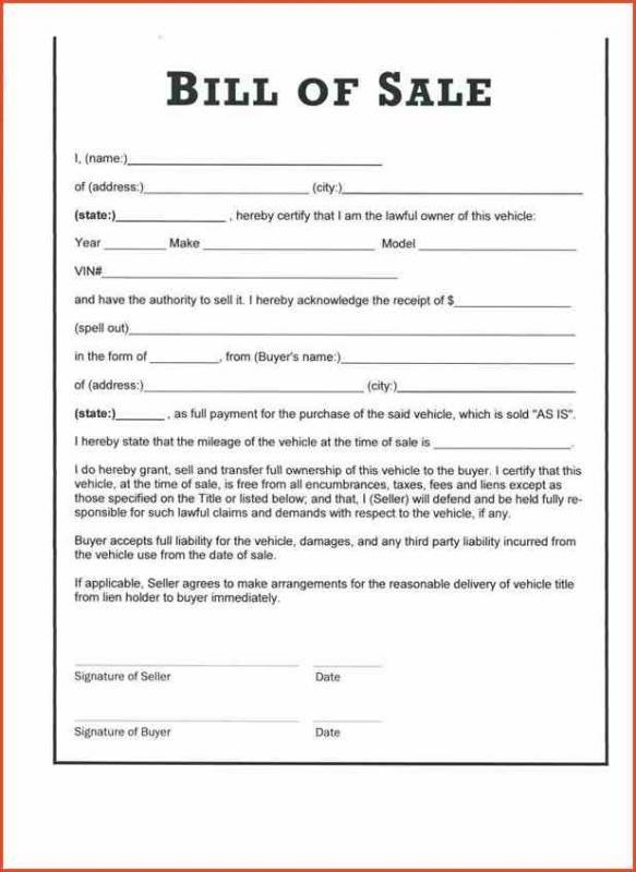 blank vehicle bill of sale