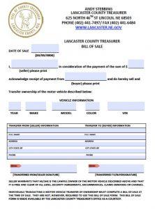 blank vehicle bill of sale lancaster county nebraska vehicle bill of sale