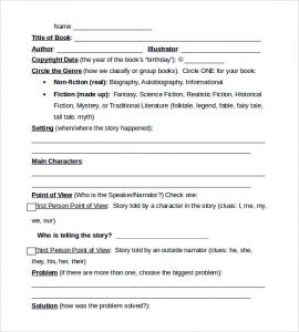 book outline example book report form