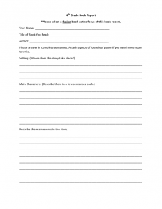 book outline example elementary school book report template l