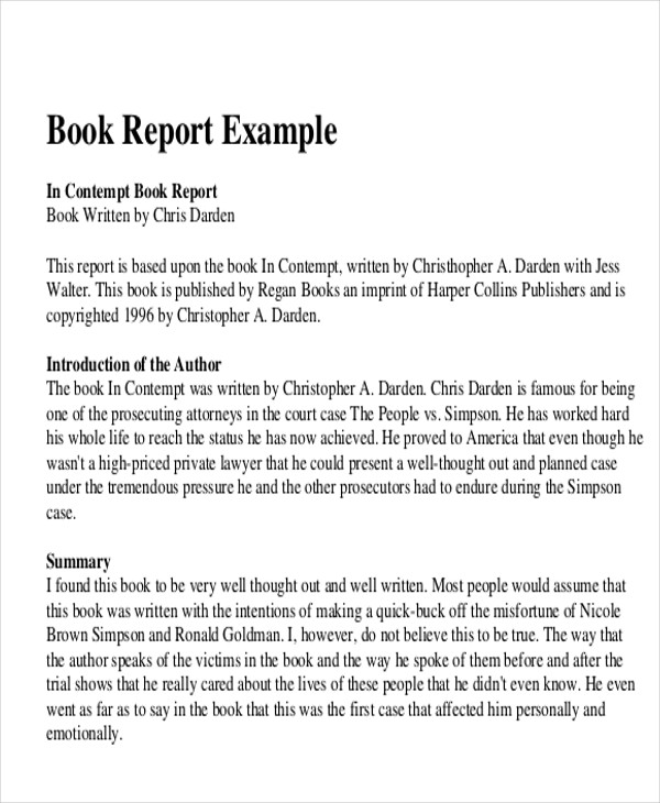 book report example