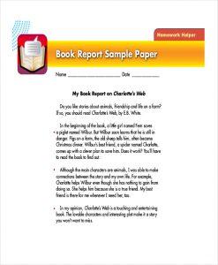 book report example college book report format