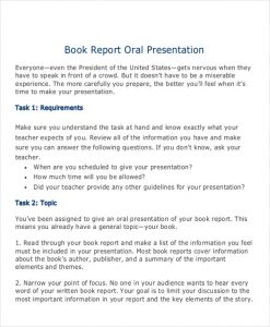 book report example oral book report example