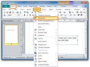 bookmark template publisher shot publisher line spacing classic menu