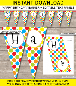 bottle labels templates colorful polkadot pennant banner template editable text