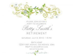 bridal shower invitation templates invitation wording to retirement party
