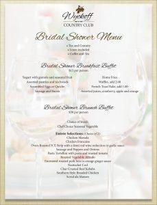 bridal shower menu bridal shower menu wyckoff country club