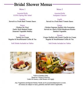 bridal shower menu bridal shower menus