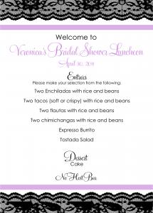bridal shower menu menu