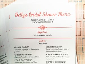 bridal shower menu wed bc menu