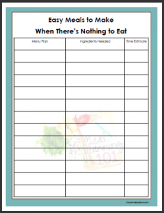 budget template free easy meals list